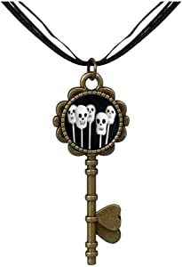Chicforest Bronze Retro Style 5 scary Halloween skeleton Key to Her Heart Pendant