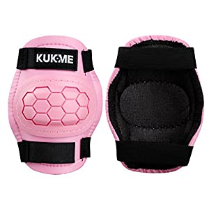 Kids Children Roller Skating Skateboard BMX Scooter Cycling Protective Gear Pads (Knee pads+Elbow pads+wrist pads) (Pink, M)