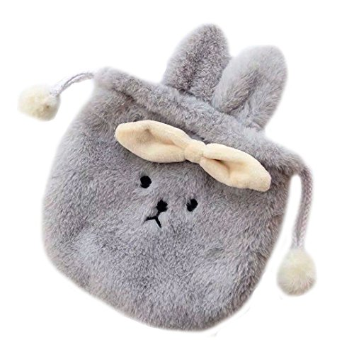 Kennedy Cute Bowknot Bear Pattern With Rabbit Ear Drawstring Storage Bag Drawstring Pouch Bag Cosmetic Bag