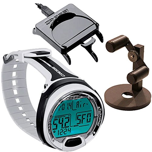 Cressi Leonardo Wrist Dive Computer Air/Nitrox w/Download Cable/Watch Stand, Black/White (Cressi Dive Watch Computer)