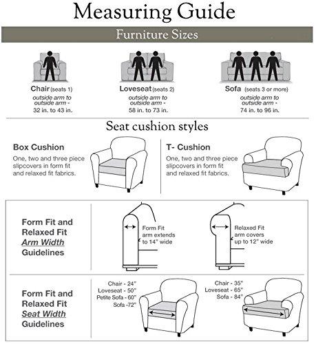 Sure Fit Designer Suede Convertible T-Cushion Sofa 3-Cushion Furniture Cover - Linen (SF44613) by Surefit (Image #3)