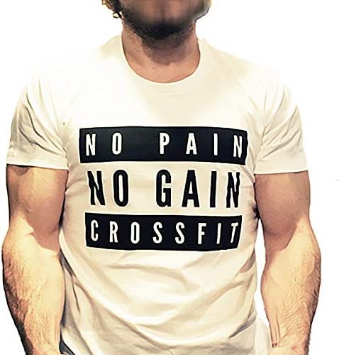 T Shirt CrossfitMusculation pour Homme Blanc No Pain No