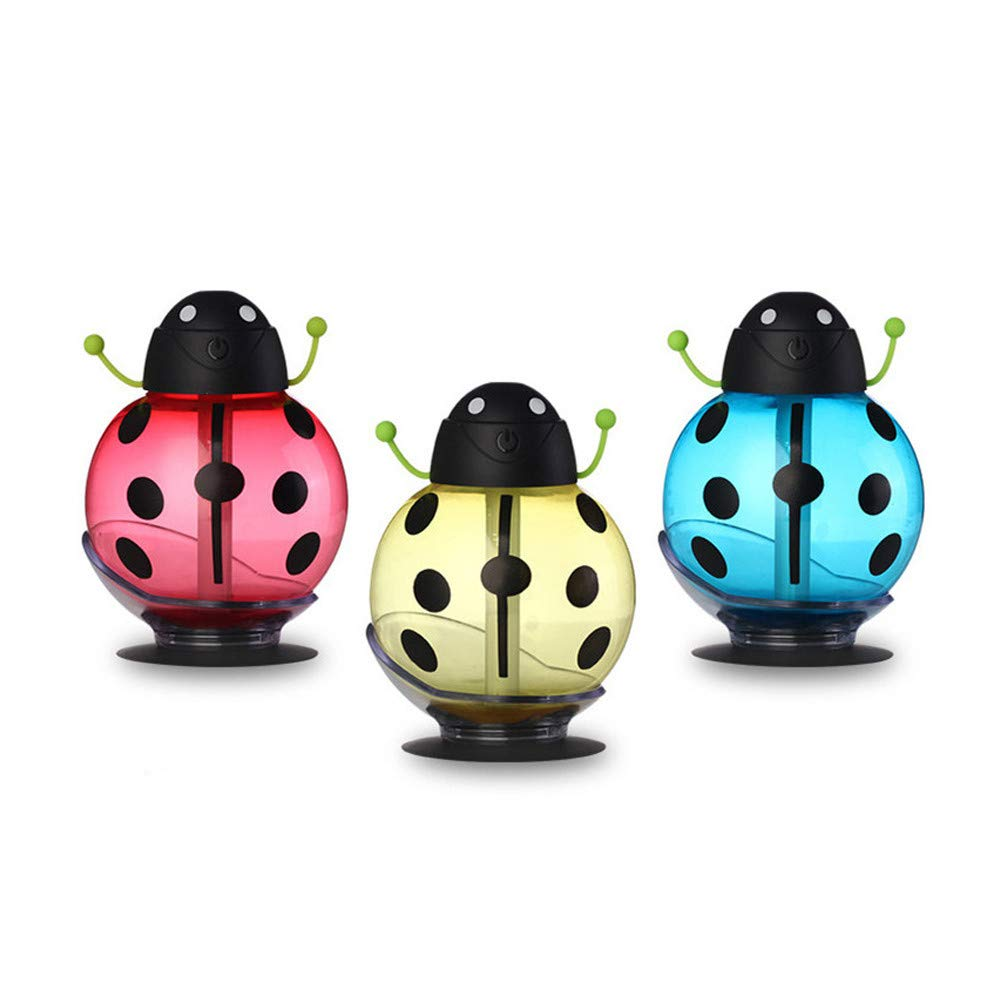Beetle Night Light Air Purifier Cartoon Desktop USB Portable Silent Ladybug Atomizing LED Table Lamp Mini Cute Aromatherapy Machine Gift for Kids, Baby ,Car, Home, Bedroom, Bedside, Travel (Red)