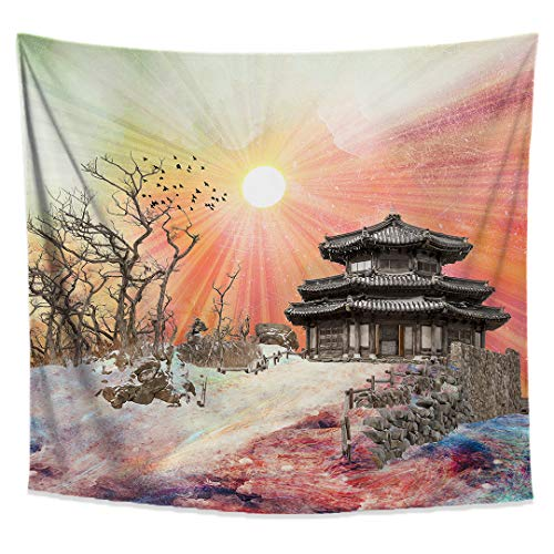 - Zen Temple Tapestry- Psychedelic Asian Wall Art- Sun Wall Hanging- Spiritual Home Decor- Tree Tapestry-Premium Large Wall Tapestry 58x51 Inches