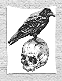 Ambesonne Scary Tapestry, Scary Movies Theme Crow Bird Sitting on a Human Old Skull Sketchy Image, Wall Hanging for Bedroom Living Room Dorm, 60 W X 80 L Inches, Charcoal Grey White
