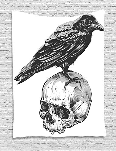 Ambesonne Scary Tapestry, Scary Movies Theme Crow Bird Sitting on a Human Old Skull Sketchy Image, Wall Hanging for Bedroom Living Room Dorm, 60 W X 80 L Inches, Charcoal Grey White (Bird Skull)