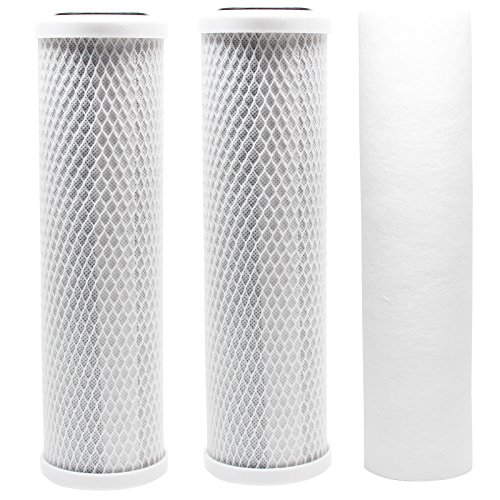 Replacement Filter Kit Compatible with Krystal Pure KR10 RO System - Includes Carbon Block Filters & Polypropylene Sediment Filter - Denali Pure Brand