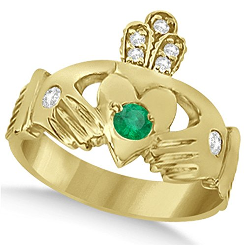 Designer Green Emerald and Diamond Accented Irish Claddagh Celtic Friendship Ring in 14k Yellow Gold