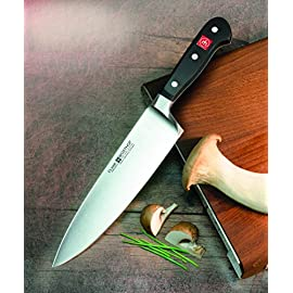 Wusthof Classic Chef's Knife 24 Professional-quality, black-handled, 4-1/2-inch forged steel cook's knife Forged tang-to-tip from high-carbon stainless steel; solid triple-riveted handle Cook's-knife contours and finger guard with parer's heft for flexibility and agility