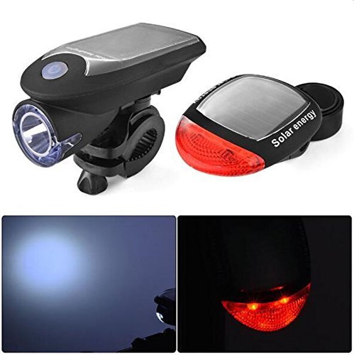 Yestery Bicycle Solar Light Rechargeable Bike Lights Front and Back LED Light Lamp