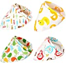 Baby Gift Set, Boieo 100% Cotton Baby Bibs Triangle Bandanas Unisex Modern for Boys & Girls - 4 Pack of Different Designs with Snaps