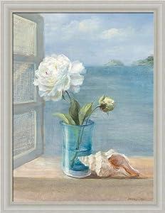 Coastal floral i by danhui nai blue bath for Bathroom paintings amazon