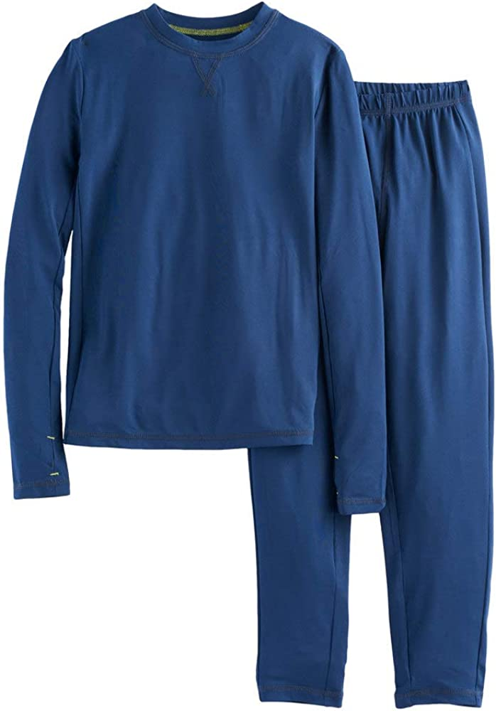 Boys Winter Base-Layer Thermal Underwear top and Bottom Set with Thumbhole