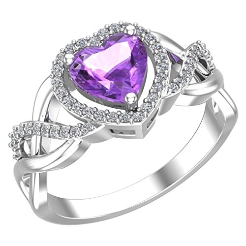 Belinda Jewelz 925 Solid Real Sterling Silver Heart Shaped Gemstone Cubic Zirconia Diamond Prong Rhodium Engagement Wedding Classic Womens Fine Jewelry Twisted Band Ring, Amethyst Purple, Size 9