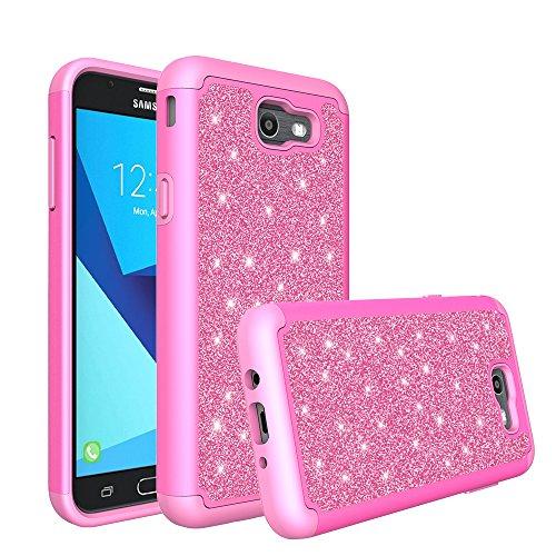 SOGA Samsung compatible case, model Galaxy J3 Eclipse/J3 Mission/Galaxy J3 Emerge,Galaxy J3 Prime 2017/Galaxy Luna Pro/Galaxy Sol 2/Amp Prime 2 Shinny Glitter Bling Cover Dual Layer - Hot Pink -  F208-HP-SAMGJ32017-GGRID