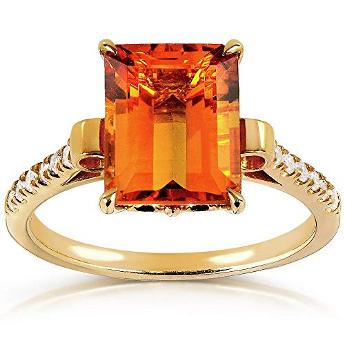 Kobelli Emerald-Cut Orange Citrine and Diamond Ring 2 5/8 Carat (ctw) in Silver with 14K Gold Plating, Size 7