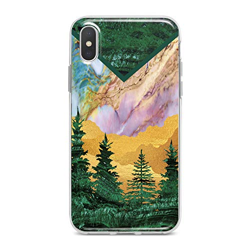 Lex Altern TPU Case for iPhone Apple Xs Max Xr 10 X 8+ 7 6s 6 SE 5s 5 Idea Modern Marble Lady Soft Slim fit Desert Clear Lightweight Cover Girl Beautiful Smooth Print Tree Design Flexible Gift Green]()