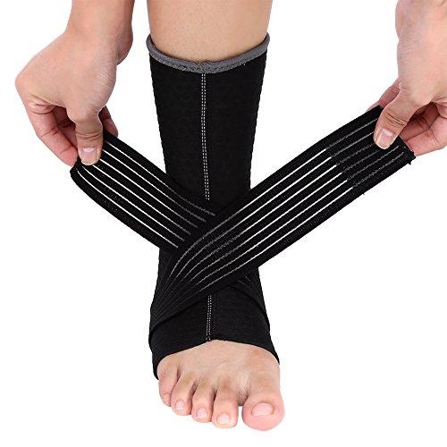 Soporte de tobillo de neopreno elástico con soporte de compresión, tamaño único, negro