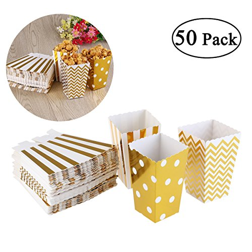 NUOLUX 50pcs Popcorn Boxes Yellow Design Trio Miniature Scalloped Edge Cardboard Party Candy Container Treat Cartons (Gold)