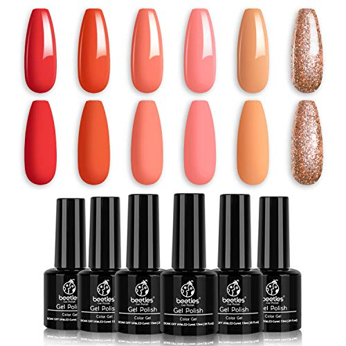 Beetles Gel Nail Polish Set- 6 Colors Gel Polish Set Just Peachy Nail Polish Soak Off UV LED Gel Nail Kit Nail Art Manicure Salon DIY at Home