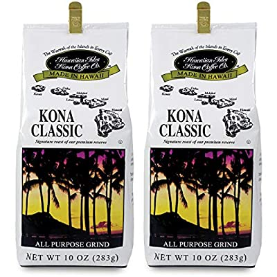 Hawaiian Isles Kona Coffee Co. Kona Classic Ground Coffee, Medium Roast, 10 ounce bag by Hawaiian Isles Kona Coffee Co.