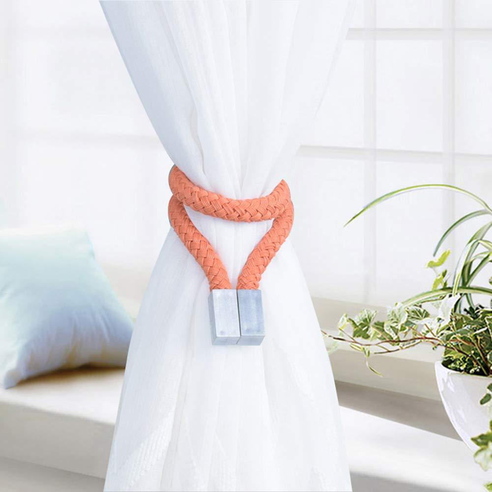 gfjhgkyu 1 Pezzo Woven Twist Nodo Tenda Fibbia Supporto Magnetico fermatenda Home Office Decor Orange