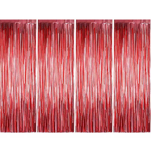 4 Pack Photo Booth Backdrops Foil Curtains Metallic Tinsel Backdrop Curtains Door Fringe Curtains for Wedding Birthday Christmas Halloween Disco Party Favour Decorations (Matt -