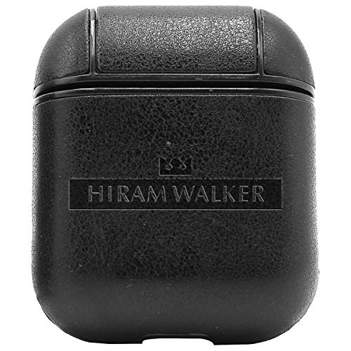 (Logo Hiram Walker SONS (Vintage Black) Engraved Air Pods Protective Leather Case Cover - a New Class of Luxury to Your AirPods - Premium PU Leather and Handmade exquisitely by Master Craftsmen)