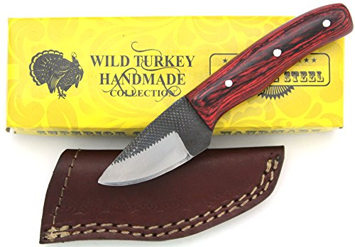 (Wild Turkey Handmade Full Tang Real File Skinner Knife w/ Leather Sheath Outdoors Hunting Camping Fishing)