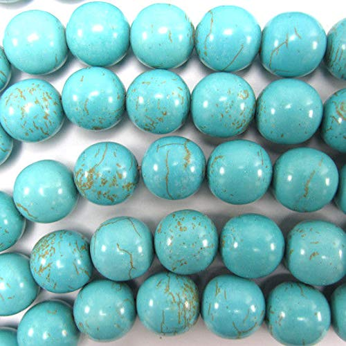 14mm Blue Turquoise Round beads 16'' Strand