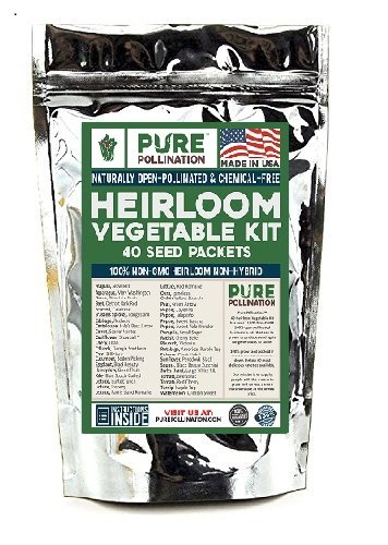 16,500 Non GMO Heirloom Vegetable Seeds Survival Garden 40 Variety Pack by Pure Pollination