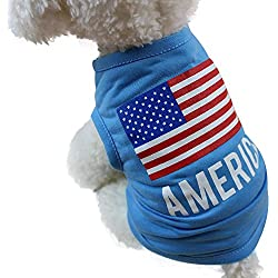 WEUIE Hot Sale American Flag Cute Pet Vest Clothing Small Puppy Costume Summer Apparel (XS,Blue)