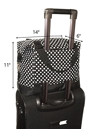 Travel Weekender Overnight Carry-on Under the Seat Shoulder Tote Bag (Small, Black & White Polka Dot) by Simplily Co. (Image #6)
