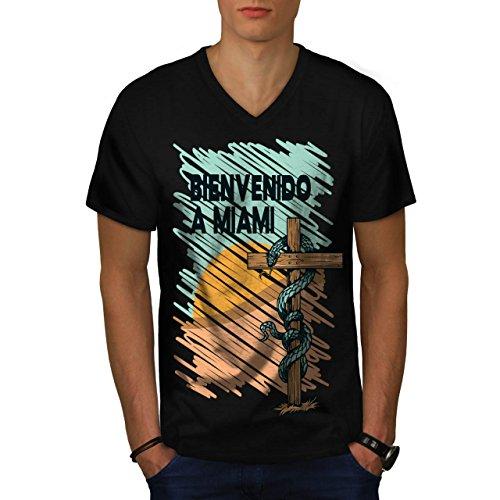 Welcome To Miami Usa Snake Sign Men S V Neck T Shirt   Wellcoda