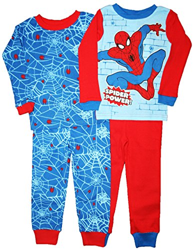 Marvel Spiderman Boy 4 PC Long Sleeve Cotton Tight Fit Pajama Set Size 5T