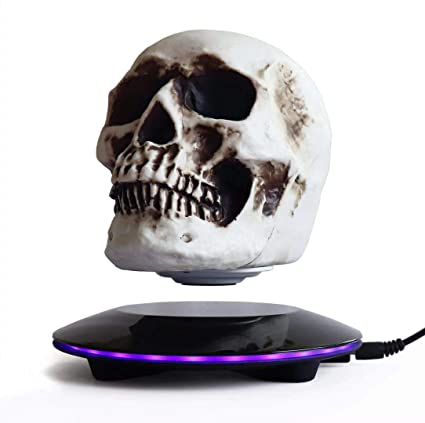Magnetic Levitating Levitate 3D Skull LED Light with Touch Button Base,  Floating and Rotating Skull Decoration Creative Crafts Statues for