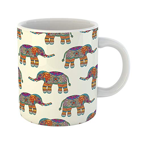 Emvency Coffee Tea Mug Gift 11 Ounces Funny Ceramic Aztec Elephants Colorful Animals African Arabesque Gifts For Family Friends Coworkers Boss Mug
