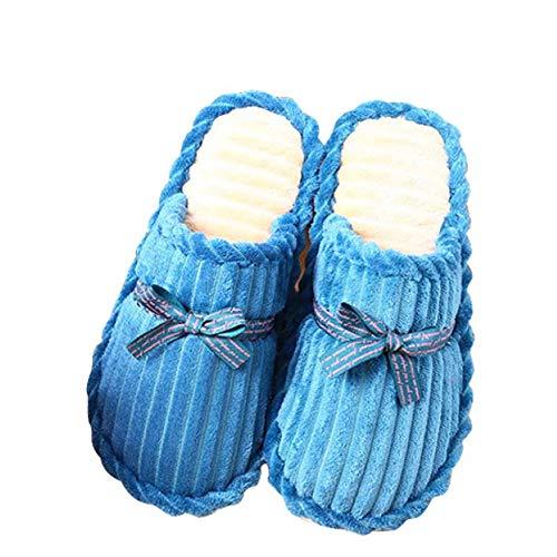 Intérieur Blue Automne Hiver Femmes Plancher Maison Antidérapant Chaud Pantoufles En Joli Bois Côtelé Velours Hommes Solide Et Ruban Fond qBwWUPItxF