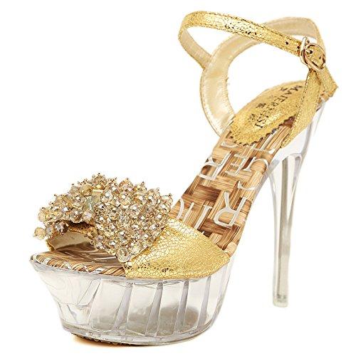 Mesdames High Heeled Sandales, Été Bouche De Poisson Chaussures, Bien Suivre Perle De Perles,Eu36Cn37