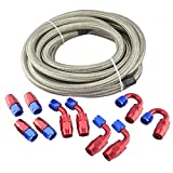 Evilenergy 16Ft 12 AN Stainless Steel Braided Oil Fuel Gas Line + Hose Fittings Kit