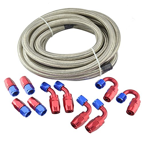 Evilenergy 16Ft 8 AN Stainless Steel Braided Oil Fuel Gas Line + Hose Fittings Kit by evilenergy