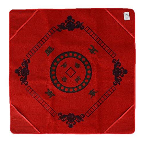 Dovewill 麻雀 テーブルクロス チェスマット パーティー マージャン ポーカーゲーム 全2色  - 赤