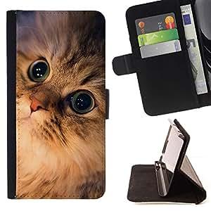 Momo Phone Case / Flip Funda de Cuero Case Cover - Bosque de Noruega Maine Coon Ojos; - Samsung Galaxy S4 Mini i9190