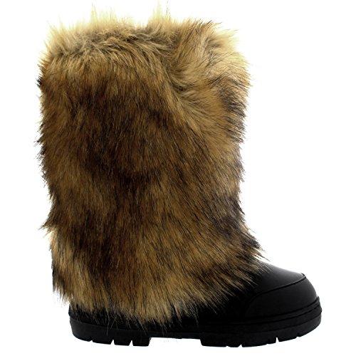 Agrifoglio Donna Eskimo Grande Pelliccia Di Coniglio Coperto Di Pelliccia Invernale Foderato Lungo Stivali Invernali In Pelle Nera