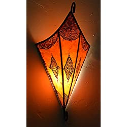 Henna Lamps & Sconces Moroccan Handmade Goat Leather Sconce Henna Tattoo Shade Orange
