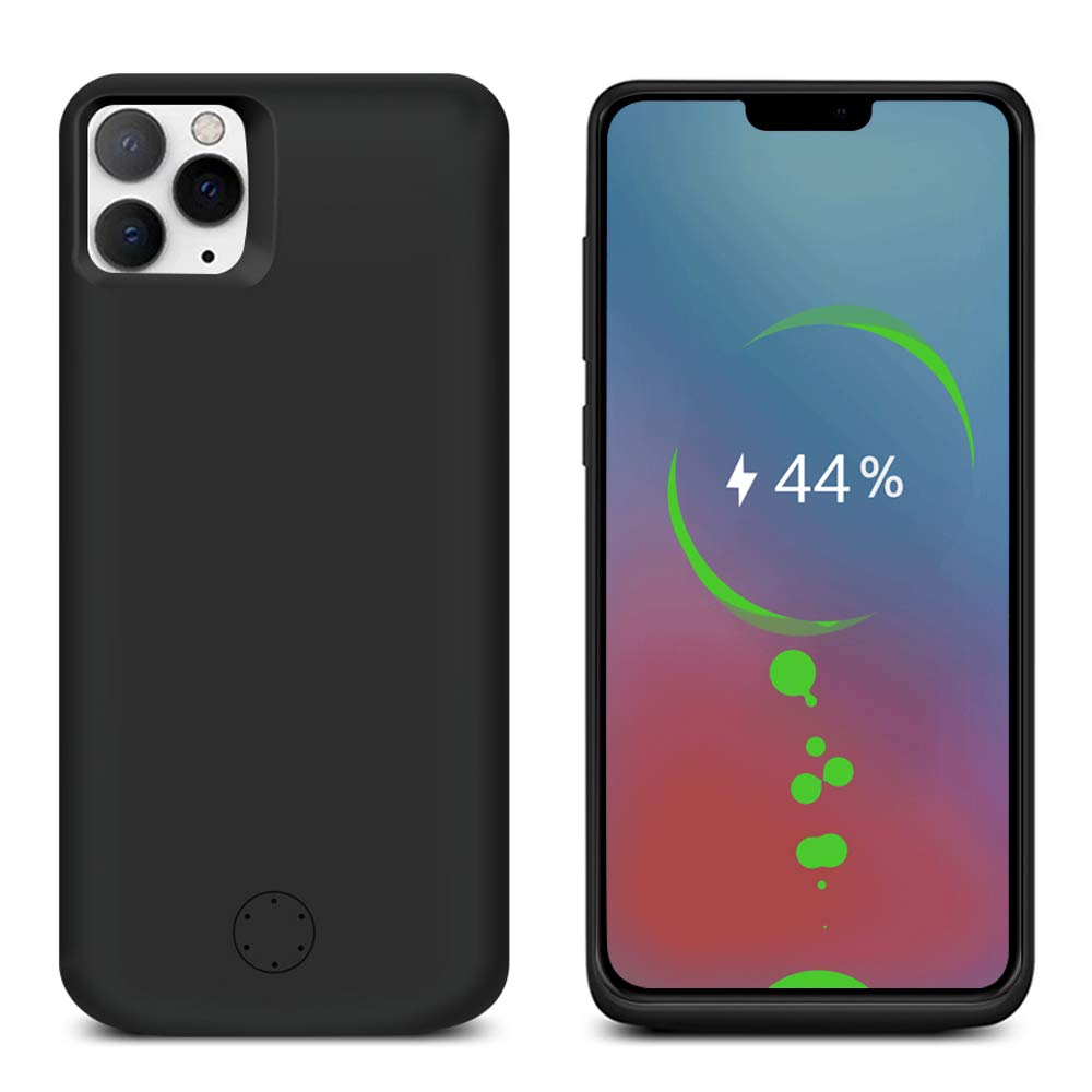 Compatible with iPhone 11 Pro Max Battery Case, 6000mAh Rechargeable Portable External Battery Charger Pack Slim Extended Power Bank Backup Charging Case for iPhone 11 Pro Max 6.5 inch Black by Moonmini