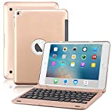 iPad Mini 4 Keyboard Case, BoriYuan Bluetooth Wireless Keyboard Folio Flip Smart Cover for Apple iPad Mini 4 2015 Release with Folding Stand and Auto Sleep/Wake Function - Rose Gold