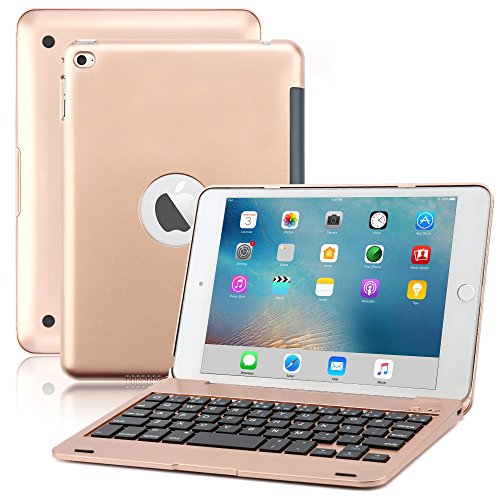 iPad Mini 4 Keyboard Case, BoriYuan Bluetooth Wireless Keyboard Folio Flip Smart Cover for Apple iPad Mini 4 2015 Release with Folding Stand and Auto Sleep/Wake Function - Rose Gold ()
