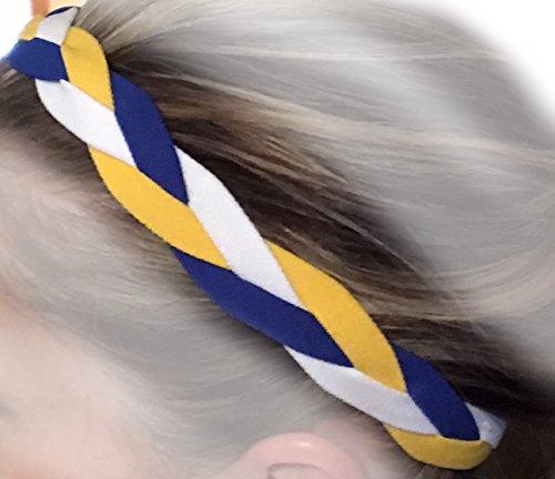 Price comparison product image It's Ridic! No Slip Grip / Non-Slip Sports / Athletic Nylon Triple Braided Sports Headband (Blue / White / Yellow)