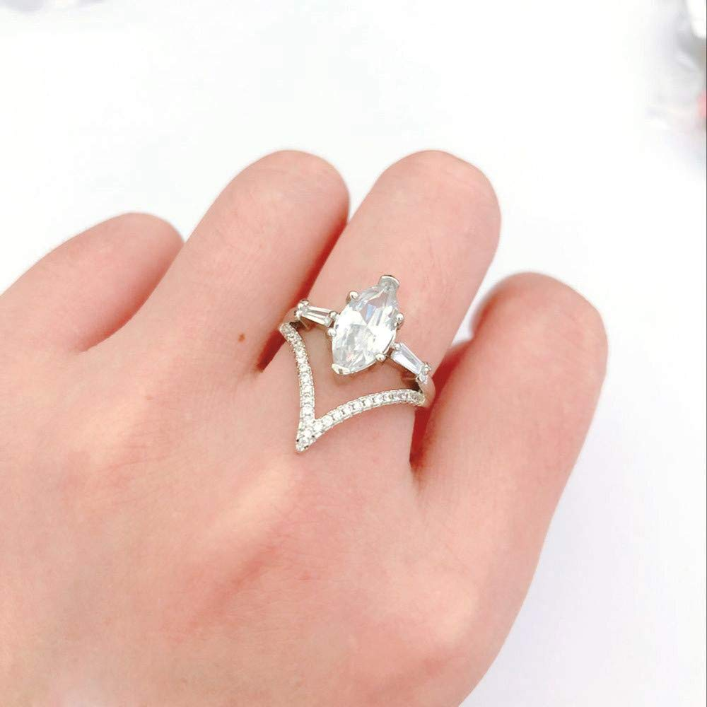Women Simulated Diamond Bohemian Crystal Joint Knuckle Nail Ring Set Finger Rings Punk Ring by NIKAIRALEY Jewelry (Image #4)